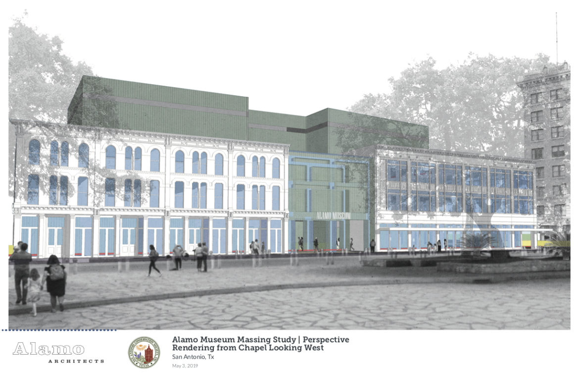 A rendering of the proposed design plans from the San Antonio Conservation Society for the Alamo Museum.