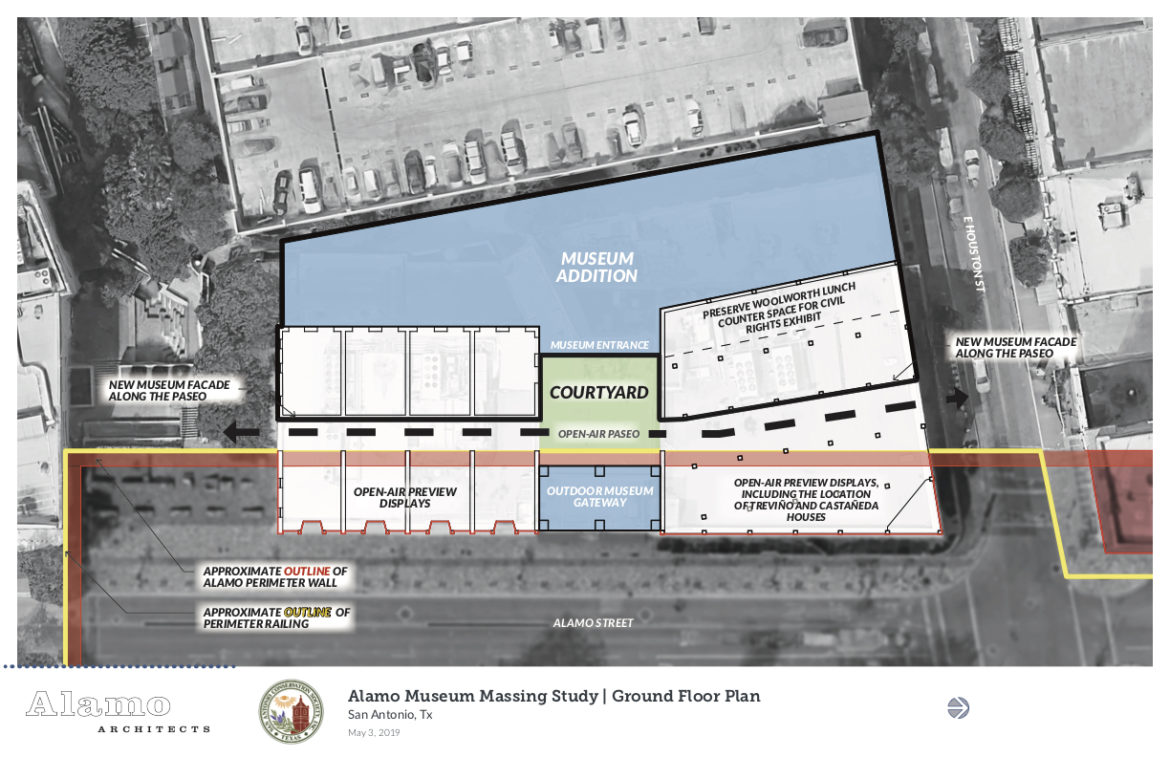 A rendering of the proposed ground floor site plan for the Alamo Museum.