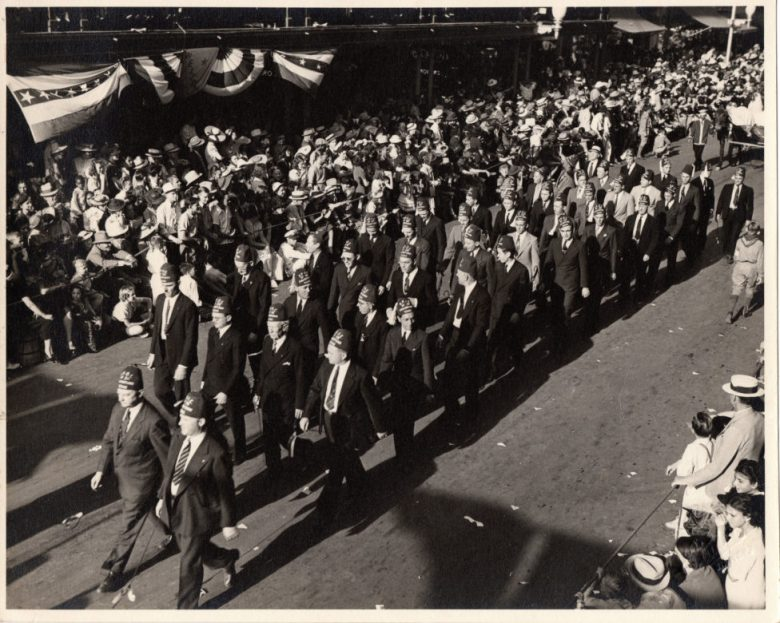 Members of the San Antonio Elks march in the Battle of Flowers parade sometime in the 1920's.
