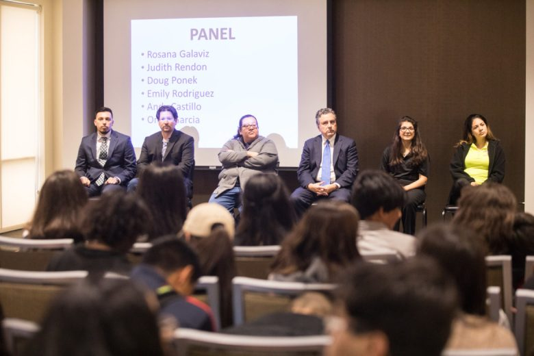 (From left) Omar Garcia, Andy Castillo, Emily Rodriguez, Doug Ponek, Judith Rendon, and Rosana Galaviz speak on a panel about their experience in education at Building a Purpose.