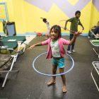 Ang Daniela Gomez Perdomo, 8, practices her hula hoop skills before bedtime.