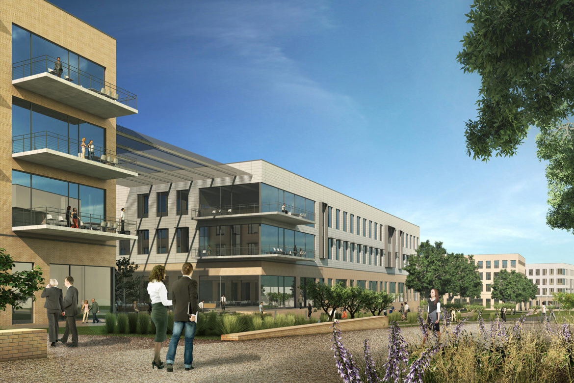 This rendering shows the ground level view of the Parkline development.