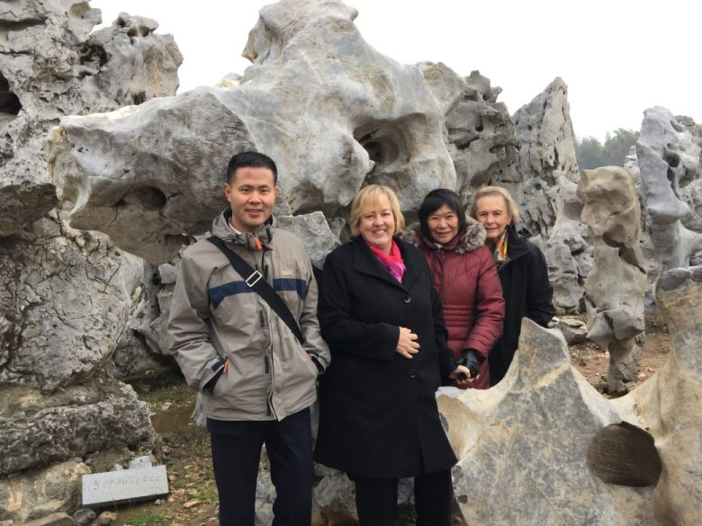 San Antonio Museum of Art Director Katie Luber flanked by the Asian Art curators (Shawn Yuan, assistant curator for Asian art at left, Emily Sano, senior advisor for Asian art at right, and SAMA trustee Rosario Laird)