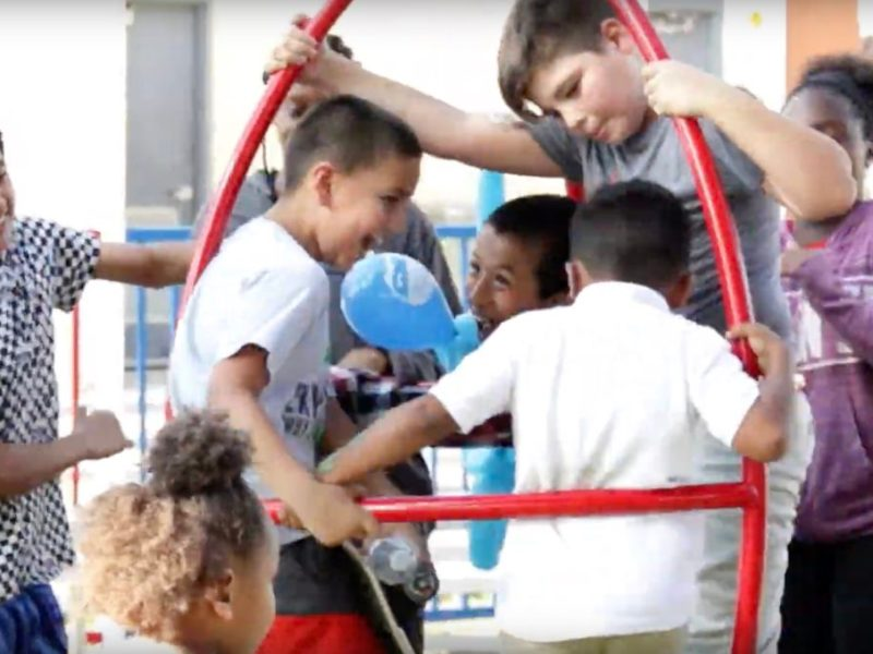 Children at Haven for Hope enjoy the outdoors on a playground at the near Westside campus.