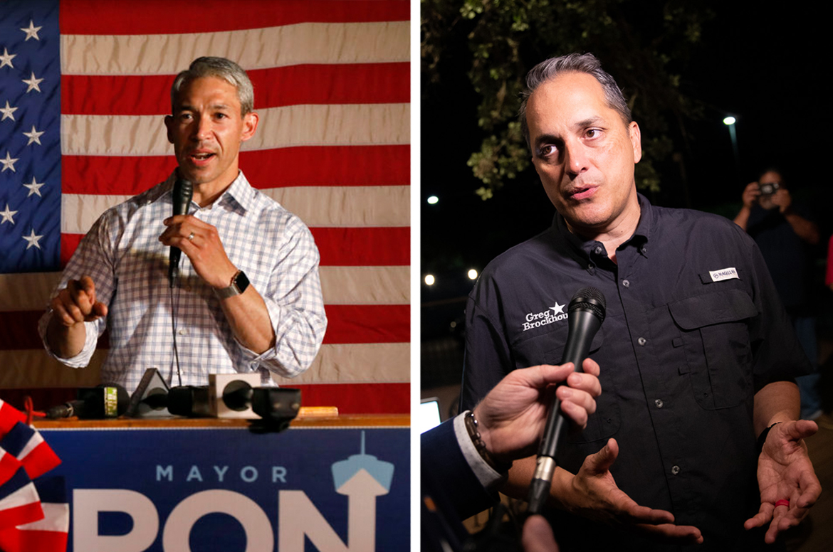 (left) Mayor Ron Nirenberg and opponent Councilman Greg Brockhouse will compete in a runoff election.