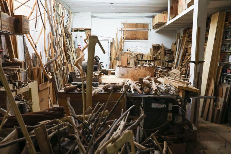 The wood shop at Danville Chadbourne's studio.