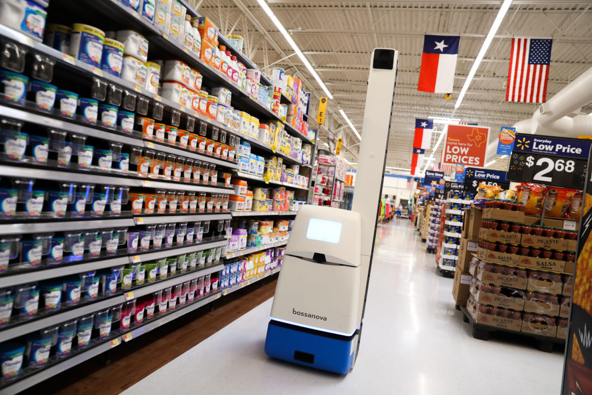 """The """"bossanova"""" robot scans aisles for missing or low stocked product and sends counts to Wal-Mart employees."""