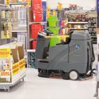 This floor cleaning robot traces a path originally made by humans and uses cameras to detect obstacles.