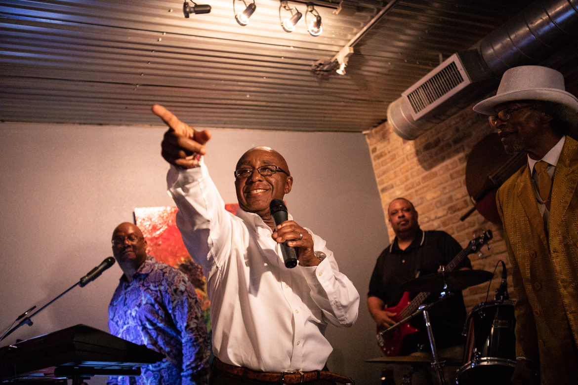 Keith Toney thanks his supporters after hearing early voting results at Tony G's Soul Food.