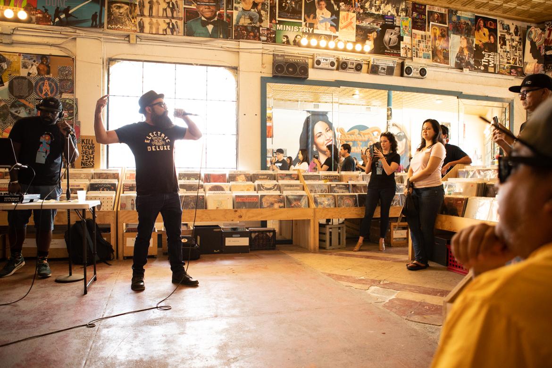 Rapper Mexstep performs at his Resistir Vinyl Release Party.