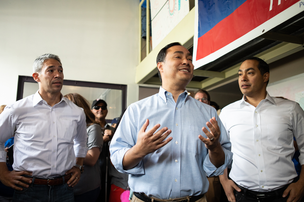 (From left) Mayor Ron Nirenberg, Congressman Joaquin Castro, and former Mayor and HUD Secretary Julián Castro.