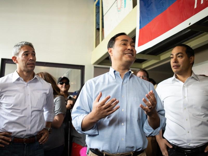 (From left) Mayor Ron Nirenberg, Congressman Joaquin Castro, and former Mayor and HUD Secretary Julián Castro.