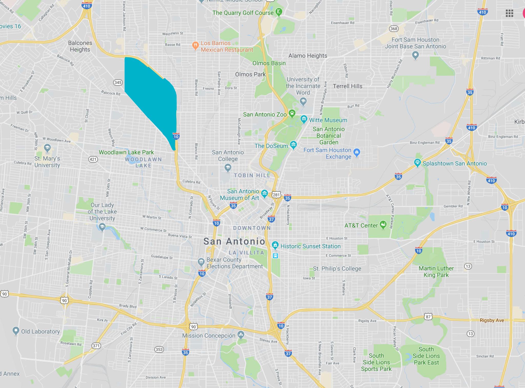 The Los Angeles Heights-Keystone neighborhood in San Antonio is shaded in blue.