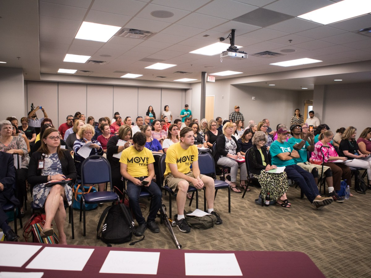 The crowd fills the room at the Paid Sick Leave Commission Meeting at Stinson Airport.