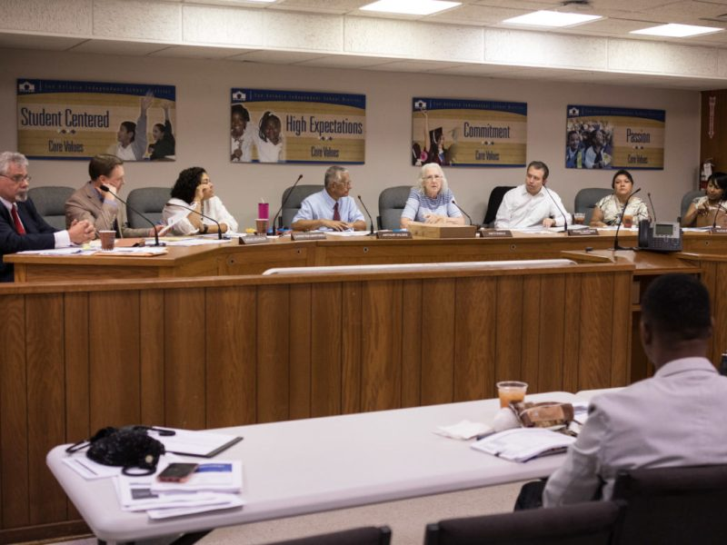 The SAISD school board of trustees meets to discuss the budget.
