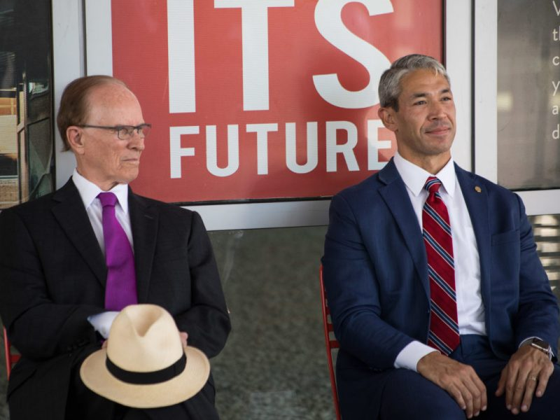 Bexar County Judge Nelson Wolff (left) and Mayor Ron Nirenberg, who once supported a one-eighth-cent sales tax shift to support public transit funding, are now asking the VIA Metropolitan Transit board to hold off.