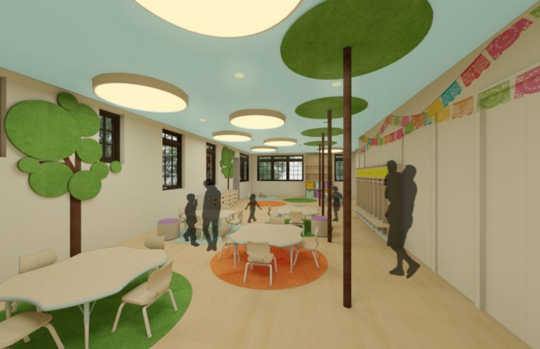 A rendering of the daycare room at HNS.