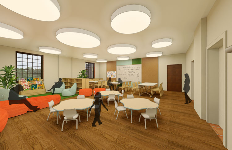 This rendering shows a classroom at HNS.
