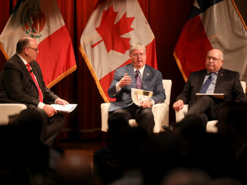 (from left) Eddie Aldrete, senior vice president at IBC Bank, Dennis E. Nixon, Chairman and CEO, IBC Bank, Gerry Schwebel, Executive Vice President, IBC Bank speak during a discussion on the USMCA agreement.