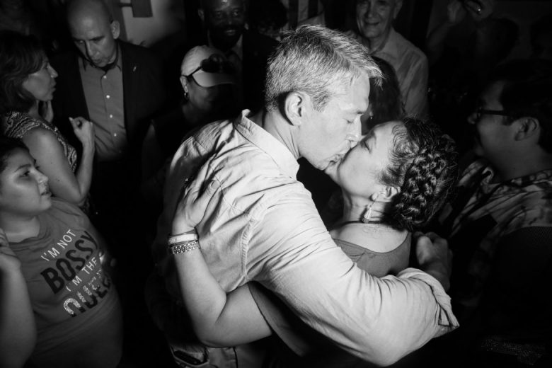 Ron Nirenberg kisses his wife Erika Prosper at the end of the night.
