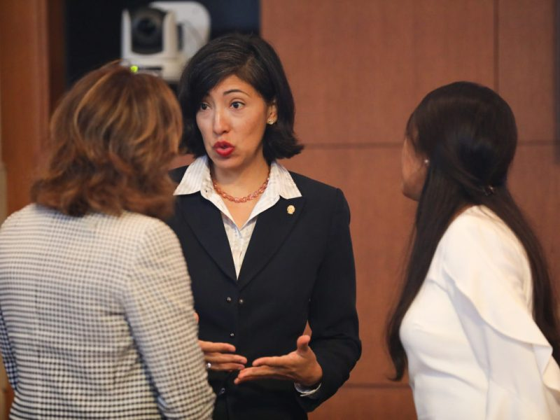 Councilwomen Shirley Gonzales (D5), Ana Sandoval D7, and Adriana Rocha Garcia (D4) meet before City Council A Session.