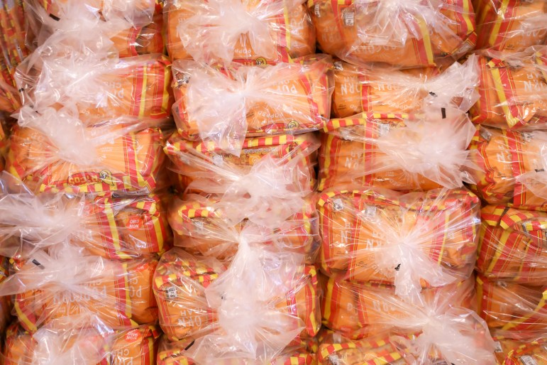 Ricos Popcorn is stacked in bags at the Liberto Cash and Carry store.