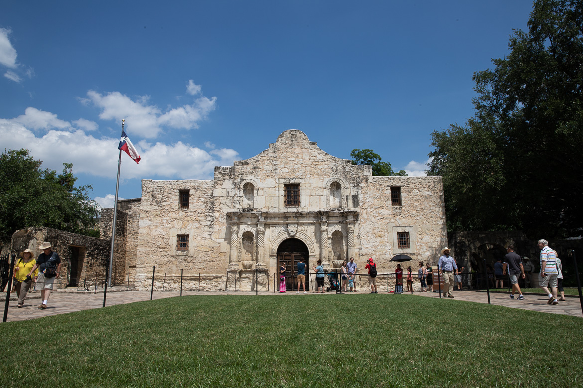 The Alamo crowded with summer tourism on June 13, 2019