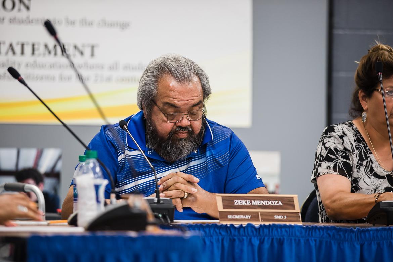 Secretary Zeke Mendoza at the HISD board meeting on June 13, 2019.