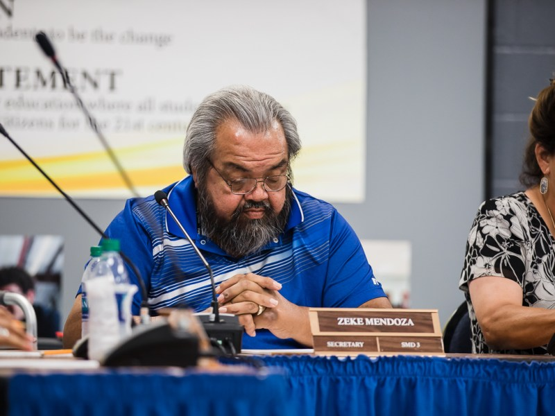 Secretary Zeke Mendoza at the HISD board meeting on June 13, 2019.