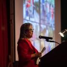 Historian and archeologist, Kay Hindes speaking at speaking at Pecha Kucha San Antonio 34 at La Villita on June 11, 2019.