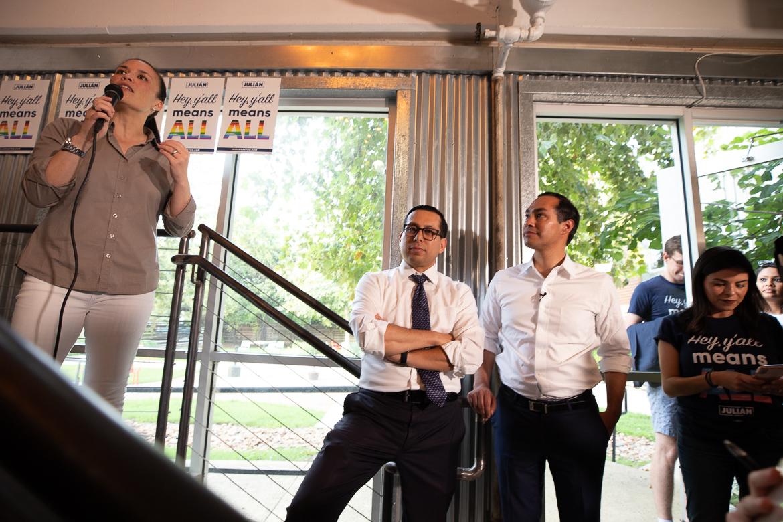 Gina Ortiz-Jones (left), Diego Bernal (center), and HUD Secretary Julian Castro at the Pride Happy Hour on June 29, 2019.