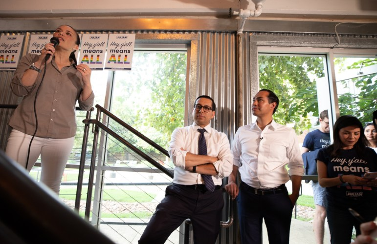Gina Ortiz-Jones (left), Diego Bernal (center), and former HUD Secretary Julián Castro at the Pride Happy Hour on June 29, 2019 in the midst of the presidential race.