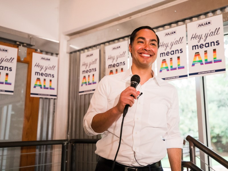 Julian Castro speaks to members of the LGBT+ community during a Pride happy hour.
