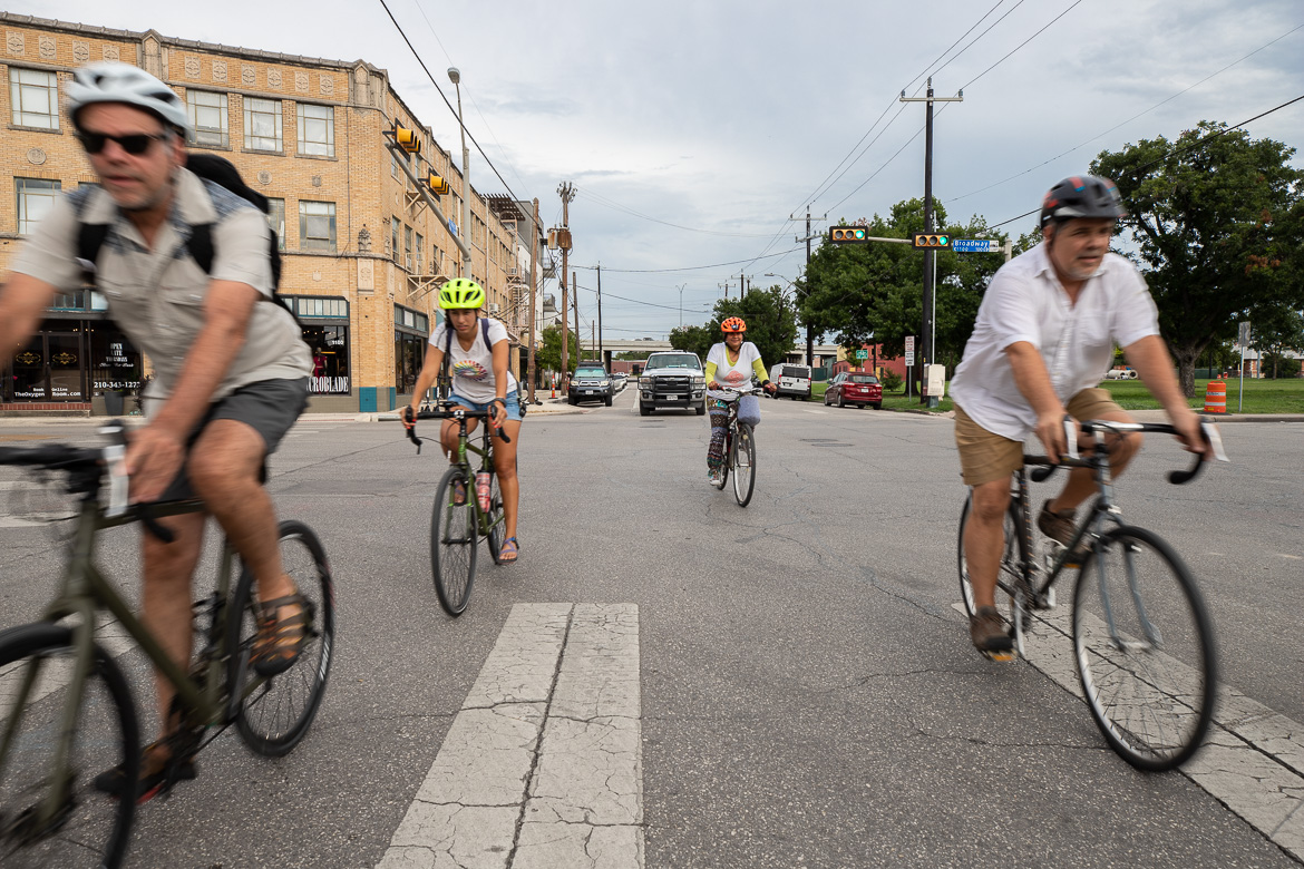 Cyclists head to the Broadway Corridor Public Meeting held by the City of San Antonio Transportation & Capitol Improvements at Central Catholic High School on June 27, 2019.