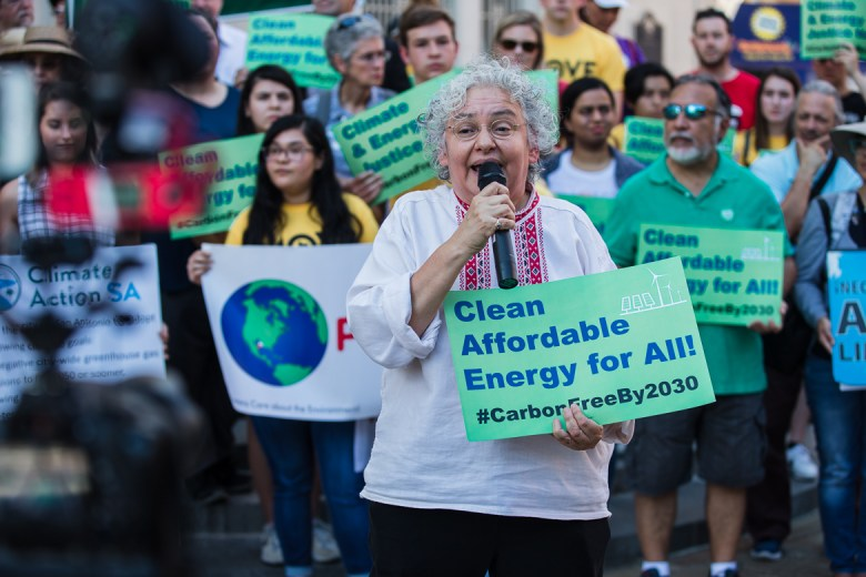 Gracelia Sanchez of the Esperanza Peace & Justice Center address the Climate Action Rally on June 12, 2019.