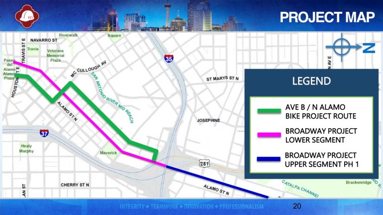 This map shows in green where separated bike lanes are proposed to be continued on Avenue B and North Alamo Street south of Interstate 35.