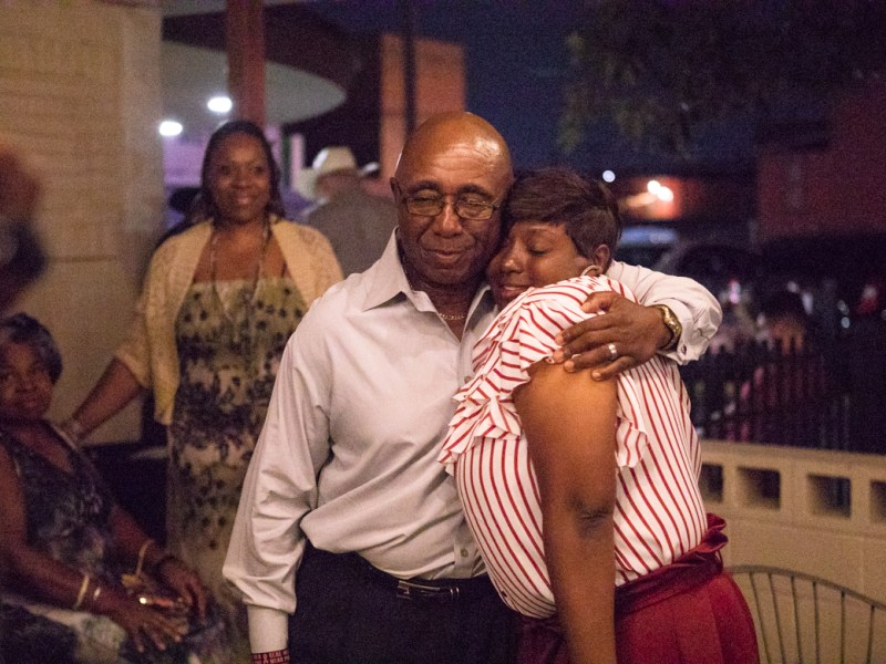 (From left) Keith Toney hugs Jada Andrews-Sullivan after she claimed victory in District 2.