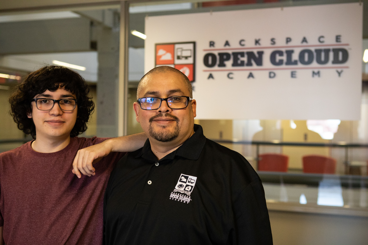 Dominic Medina (left) graduated from Rackspace Open Cloud academy in August 2018, and Ramiro Medina will graduate from the same program in June 2019.
