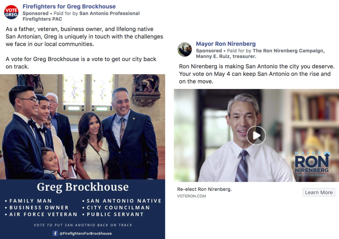 (From left) A Facebook advertisement paid for by the San Antonio Professional Firefighters PAC, and a Facebook advertisement paid for by the Ron Nirenberg Campaign.