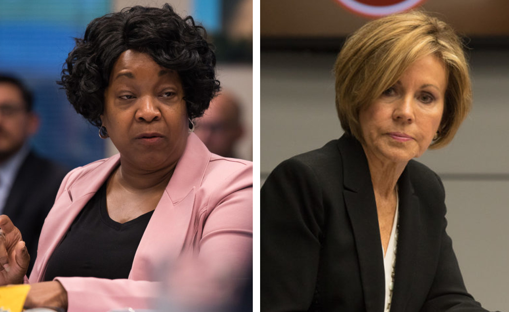 (From left) CPS Energy CEO Paula Gold-Williams and previous City Manager Sheryl Sculley.