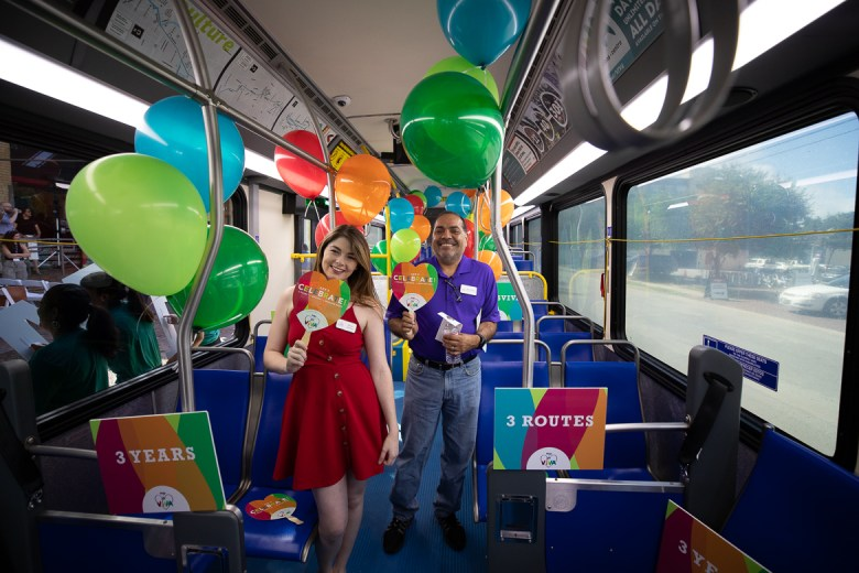 Guest tour inside the VIVA bus at the milestone 1 Million Trips celebration on July 2, 2019.