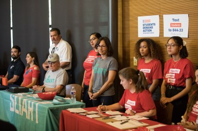 Moms Demand Action and Students Demand Action are among groups that set up tables at the event.