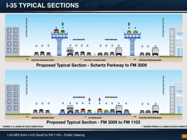 This image shows the current plan for sections of I-35 in Schertz.