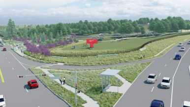 A rendering of the future McNay Art Museum shows the aerial view above Austin Highway.