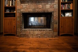 The double-sided fire place is a favorite feature of the Falk residence.