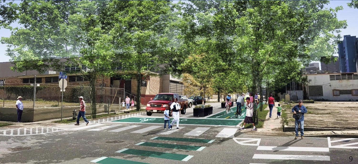 The City will build a separated bike lane on Avenue B and North Alamo Street.