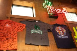 T-shirts still line the walls of Chris Madrid's, a tradition from the restaurant before the fire.