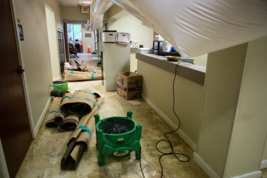 Water damage occurred inside the church offices.