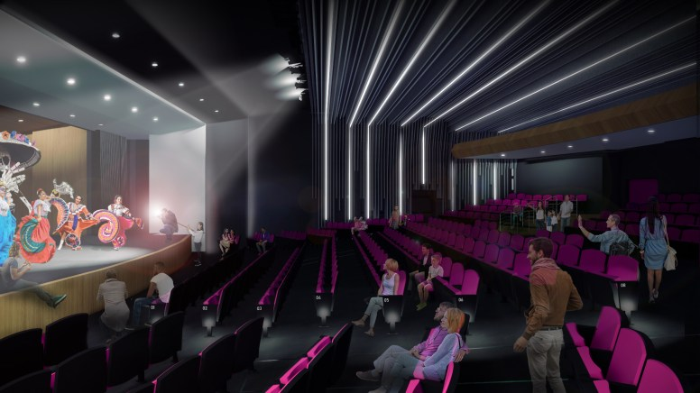 A rendering of the theater space at the future SAY Sí campus.