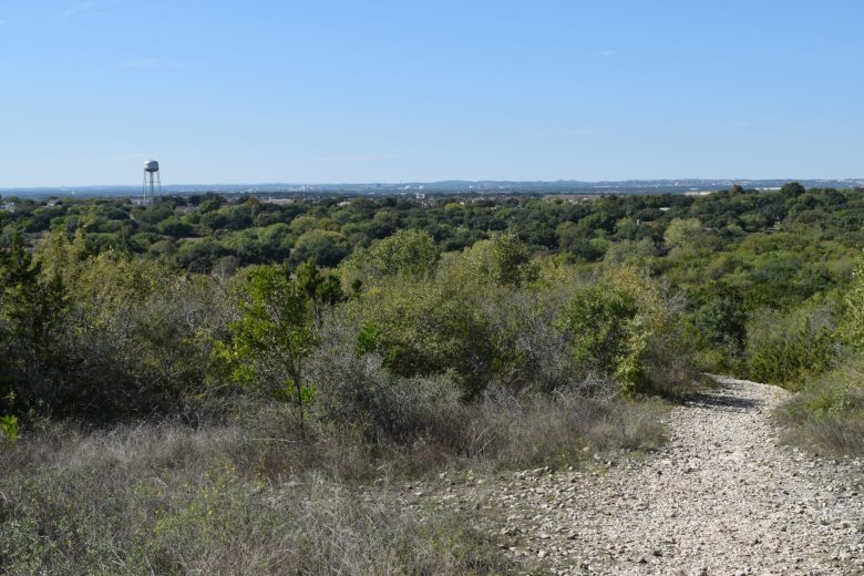 A view looking west from the top of the 1034-foot hill at Comanche Lookout Park.